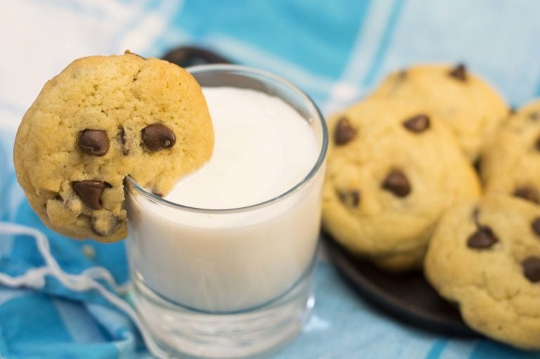 chocolate chip cookies served with a side of milk