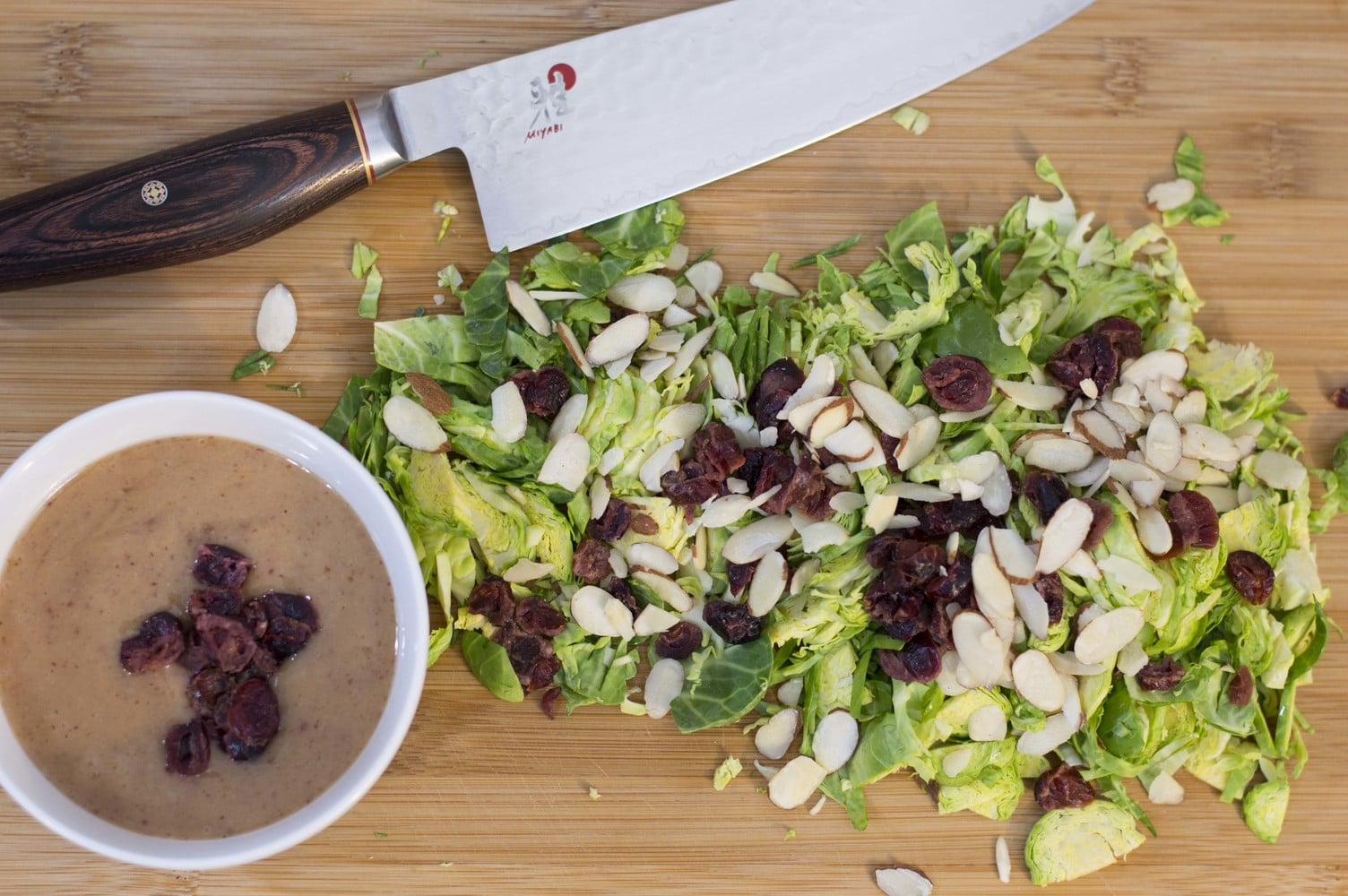 Sliced, diced and ready to eat shaved Brussel sprout salad