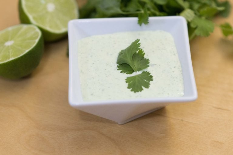 The cilantro lime sauce ready to be served