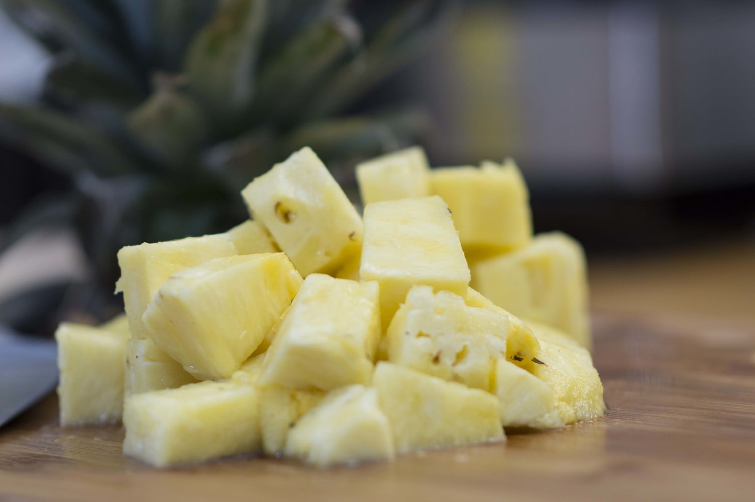 Chunks of pineapple to show you how to cut a pineapple