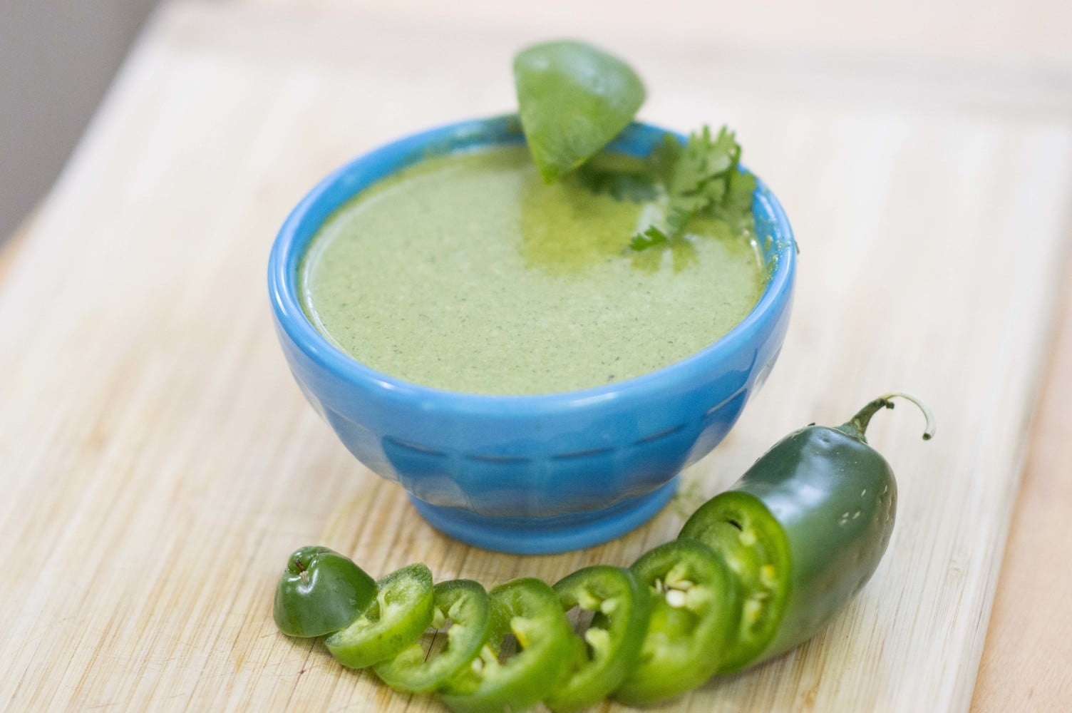 The Jalapeno Lime Vinaigrette dished up and ready to add to your favorite salad