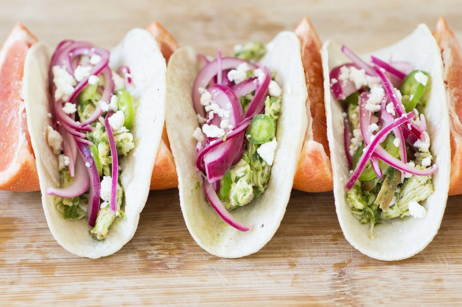 The Smoked Chicken Tacos with Grapefruit Basil Verde made and ready to eat