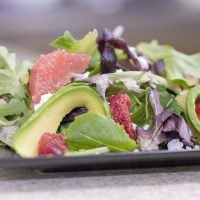 Winter Citrus Salad with Blood Orange Vinaigrette served and ready to eat