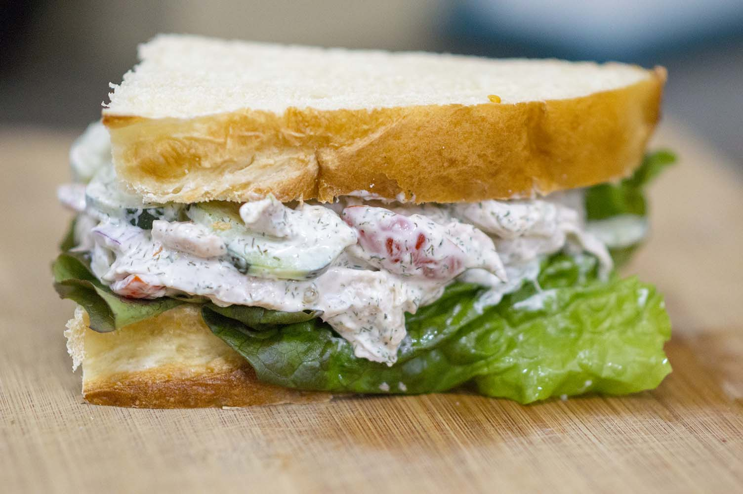 Cucumber Dill Chicken Salad served on bread to make a sandwich
