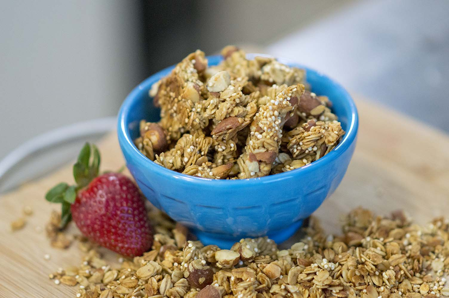 Granola Clusters served and ready to eat