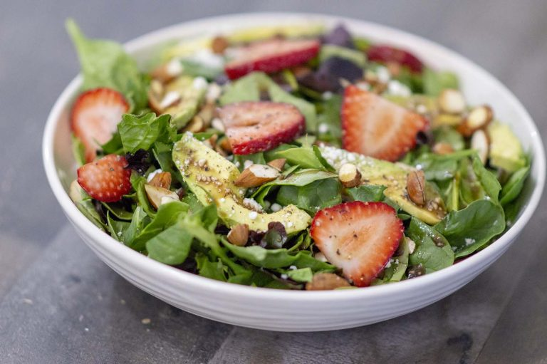 Strawberry Avocado Salad dished up and ready to eat