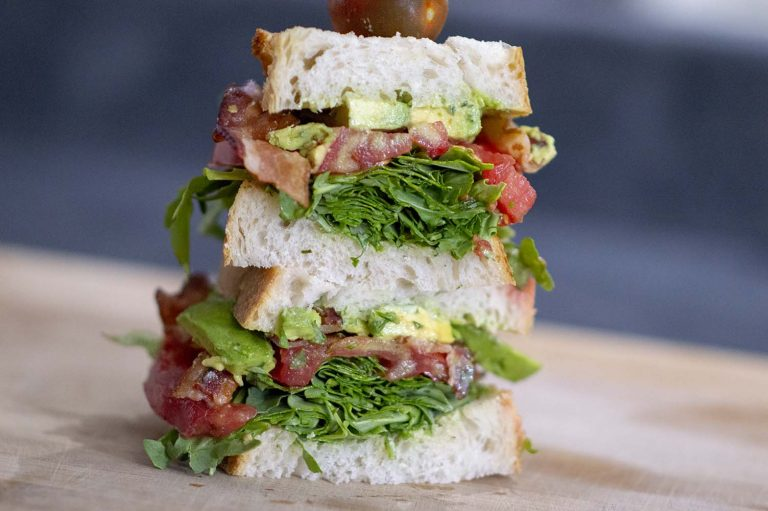 Heirloom BLT with Herbed Mayo assembled and ready to eat