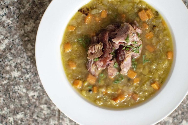 Split pea and ham soup served and ready to eat