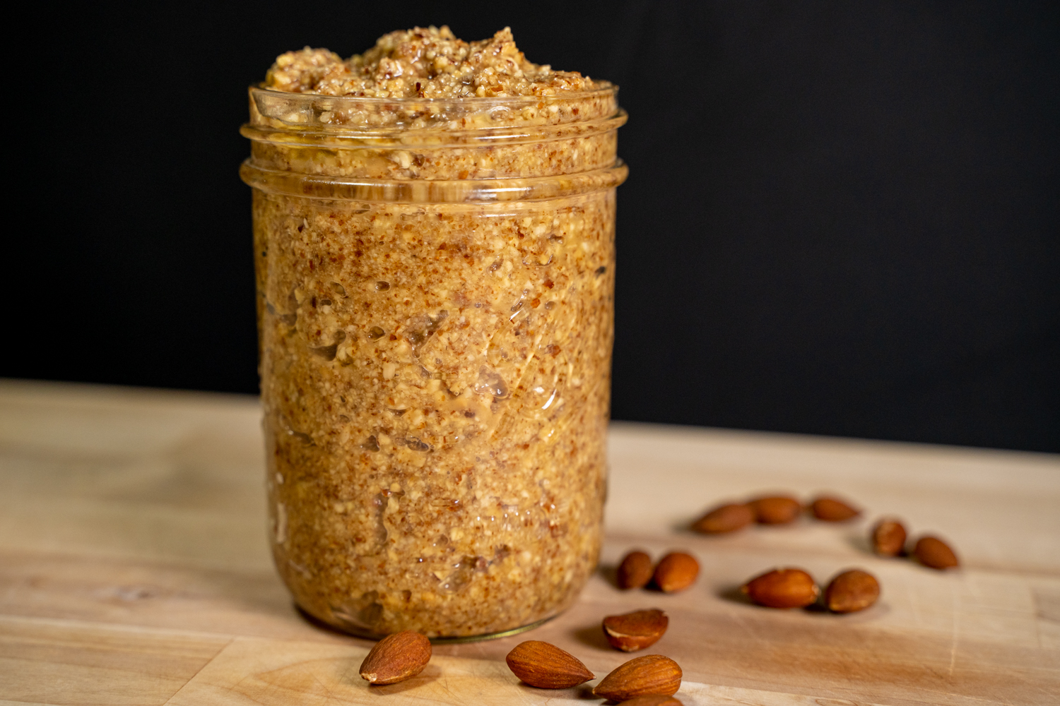Jar of chunky almond butter